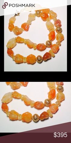 """30"""" Carnelian Agate Necklace w/Citrine Rondelles 30"""" Carnelian Agate and Citrine Statement Necklace with gold tone (vermeil) toggle closure. The color of the beads are a much richer color. The Agate beads are separated by Citrine Rondelles and four 25mm floating gold vermeil beads. This is fabulous look. The center bead is highlighted by two gold Bali bead Rondelles. All items in my boutique are made in my studio. This is custom made jewelry for a custom made life. CLA HAUTE JEWELLERY…"""