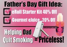 Show dad you care with vape gear. Between now and #FathersDay (June 15), enter promo code: VapingDad at check out to receive 40% off of an eRoll Starter Kit or 20% off gourmet eJuice! #vaping #happyvaping #SweetDeal #vapeLife