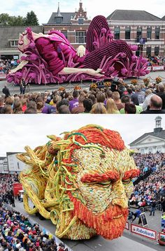 Netherlands Corso Zundert parade celebrates Vincent van Gogh with giant floats of flowers.