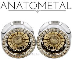 """3/4"""" Sunflower Eyelets in ASTM F-138 stainless steel with bronze Sunflower Inserts: princess-cut Champagne CZ gemstones"""