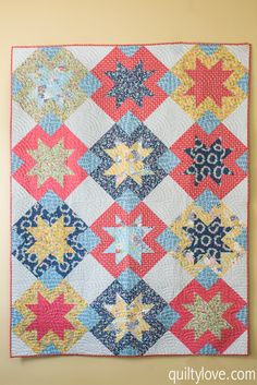 North Star Quilt - Daisy Days Blog Tour - Quilty Love Sawtooth star quilt pattern by Emily. Daisy Days fabric for Riley Blake Designs.