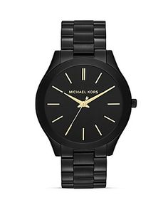 Michael Kors Mid-Size Black Slim Runway Three-Hand Watch, 42mm | Bloomingdale's $180