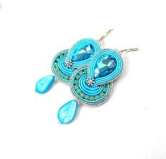 Soutache Earrings Dangle Earrings Soutache Jewelry Azure High Fashion Jewelry        Welcome in my Etsy Shop      Here you will find a selection of
