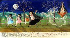 Возвращаясь домой от бабушки Мартины, мы проходили через кладбище, и нам явился призрак. Мы перепугались и побежали прочь, а привидение бросилось за нами, чтобы схватить и утащить с собой на тот свет. Мы взмолились Деве Гваделупской, и благодаря ей призрак нас не настиг. Со страху мы с моими девочками бежали без остановки до самого дома. Посвящаем в благодарность Пресвятой это ретабло.