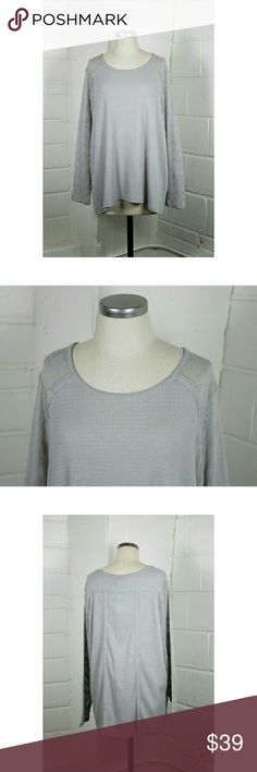 """Lucky Brand thermal pointelle sleeves top Size 3X.  Lucky Brand thermal pointelle sleeves top. Lightweight thermal knit with pointelle detail sleeves. Polyester/viscose/elastane blend. New with tags. Approximate measurements Bust 48"""" Length 27.5"""". Lucky Brand Tops Sweatshirts & Hoodies"""