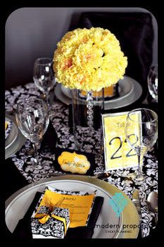 Centerpiece, White, Wedding, Black, Yellow, Modern, Damask-would live this with green!