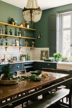 Gorgeous deep green walls in a bespoke farmhouse kitchen by deVOL kitchens - paint color is Ho Ho Green by Little Greene. Gorgeous deep green walls in a bespoke farmhouse kitchen by deVOL kitchens - paint color is Ho Ho Green by Little Greene. Farmhouse Kitchen Decor, Kitchen Interior, New Kitchen, Awesome Kitchen, Farmhouse Interior, Bohemian Kitchen Decor, Country Interior, Smart Kitchen, Vintage Kitchen Decor