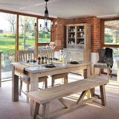 Saltash reclaimed wood dining set - lifestyle - Modish Living Nordic Style Reclaimed Wood Dining Table, bench and chairs