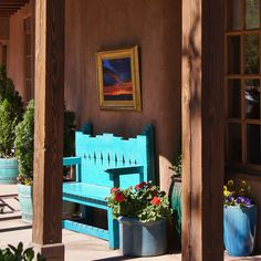 Blue bench outside a gallery on Canyon Road in Santa Fe, New Mexico. Southwestern Home, Southwestern Decorating, Southwest Decor, Southwest Style, Southwestern Benches, Porches, New Mexico Style, Painted Benches, Tuscan Style Homes
