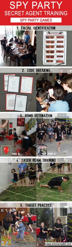 Click through for awesome Secret Agent or Spy Party Training Activities / Games Ideas for your Spy or Secret Agent Birthday Party (Face Identification | Secret Code Breaking | Bomb Detonation | Laser Beam Training | Target Practice)