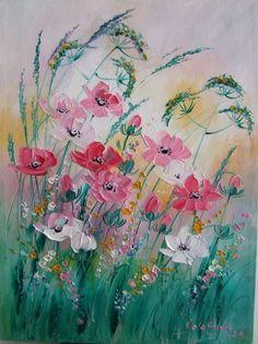 Wild Flowers Meadow Impression IMPASTO Original Oil Painting Europe Artist Pink #ImpressionismIMPASTO