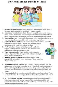 Here are 10 lunchbox tips and tricks from the authors of the Mitch Spinach Children's Book Series.  You can also download a copy of this on Facebook at  http://www.facebook.com/MitchSpinach/app_4949752878