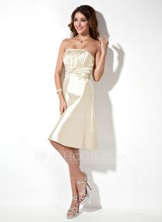 Bridesmaid Dresses - $87.99 - A-Line/Princess Strapless Knee-Length Charmeuse Bridesmaid Dress With Ruffle (007000861) http://jjshouse.com/A-Line-Princess-Strapless-Knee-Length-Charmeuse-Bridesmaid-Dress-With-Ruffle-007000861-g861
