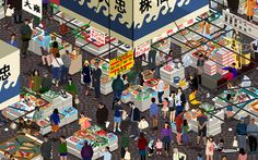 One of three world market posters, illustrated by Jinyao Guo for ODLCO. This one is the Tsukiji Fish Market inTokyo, Japan. Posters and art prints are available now on Kickstarter.