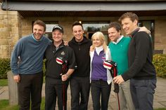Jonathan Wilkes, Boyzones Mikey Graham, Ant McPartlin, Caudwell Children Chief Executive Trudi Beswick, Declan Donnelly and Ben Shepherd enjoy a laugh at our golf event in Loch Lomond