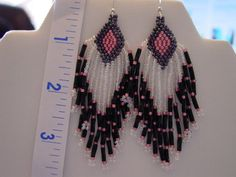 3 1/2 inch Seed Bead Native Style Earrings Made by AFantasyinGlass