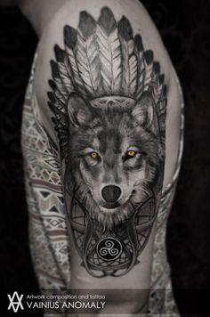 wolf tattoo | Tumblr...I love the colored eyes against the black and gray!