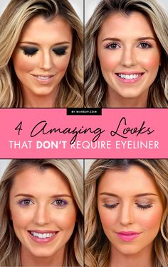 Eyeliner not your thing? No worries! We created four unique looks that don't require any eyeliner! Check out how to get this dark smoky eye, pastel eye shadow, and gleaming eye makeup looks!