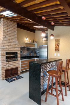 Outdoor Kitchen Design, Kitchen Decor, Patio Bar, Wooden Pergola, Spanish House, Model Homes, Sweet Home, New Homes, House Design