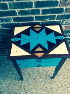Rustic tribal end table