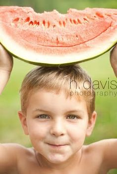 h. davis photography. summer. kids. children. watermelon. boy. natural light. morning.