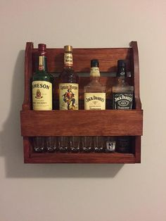 Whiskey Shelf by RowdysWoodshop on Etsy