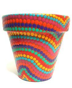 Olas. Waves. Hand painted flowerpots. Macetas pintadas a mano. Facebook: A'cha Pots. achapots@hotmail.com