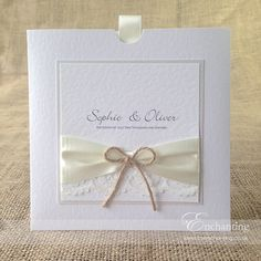 The Sugar Plum Collection - Wallet Invitation   Featuring ivory ribbon, ivory lace and twine bow   Luxury handmade wedding invitations and stationery #byenchanting