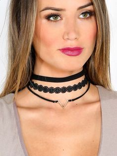 black choker necklace. lace. gold.