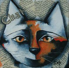 Original Mixed Media Cat Painting NFAC Art by Deb Harvey | eBay
