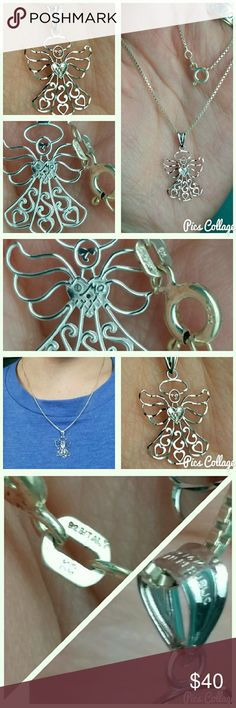 """Sterling/14K W.G. Angel Necklace 18"""". Sterling silver chain made in Italy, .925 stamps shown on clasp in pics 3 & 4. Delicately beautiful angel pendant, about 1"""", 14K white gold, pendant loop stamped 14K, made in Dominican Republic, shown in pics 3 & 4. Back of pendant stamped copyright,  """"Ma"""". Like new, worn once or twice. Feel free to ask any Q's! Ma Jewelry Necklaces"""