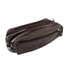 Leather accent travel case, 'Earth Textures' - Men's Leather Accent Brown Cotton Travel Case