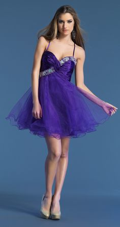 Spaghetti Strap Mini Purple Tulle A Line Party/Graduation Dress