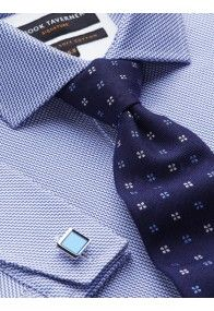 Blue and White Zigzag Double Cuff Slim Fit Shirt