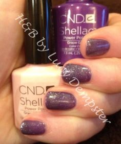 CND Shellac Grapefruit Sparkle layered over Grape Gum