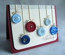 button ornaments on a christmas card - i love this. what a great way to use old buttons.