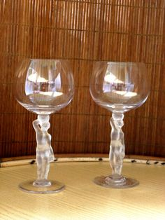 3 crystal glasses Bayel Bacchus Bacchante  by lapetitetrouvaille, €59.00