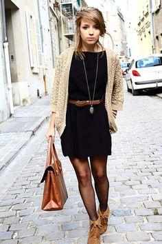 Black dress brown cardigan belt