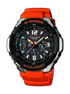 Casio G-Shock Funk – Reloj analógico de caballero de cuarzo con correa de resina roja (alarma, solar, alarma, cronómetro) – sumergible a 200...