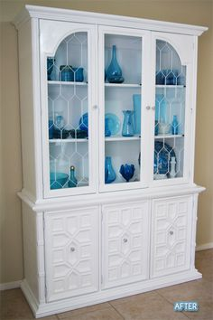 I have to do this...my dishes would look SO much better in a light colored china cabinet!