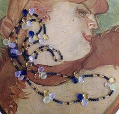 Long gemstone bead necklace blue and yellow by TobysArtwear