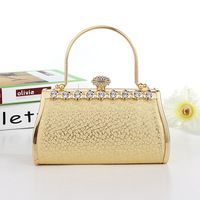 Brand New Fashion Diamond PU Leather Embossing Gold Evening Bag Clutch Ladies Hot Styling Handbag for Party Banquet Wedding Prom