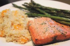 grilled salmon and asparagus with quinoa