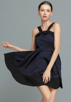 Navy Spaghetti Strap Backless Bow Pleated Dress