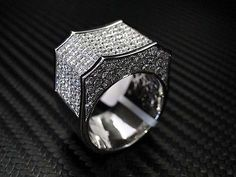 Mens Diamond Ring Round Cut 14K White Gold 8.6Cts Princess Cut Invisible Set