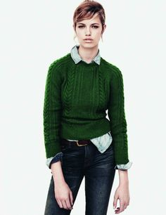 Fashion Piece: Cable Knit Sweater sweaters, green sweater, fashion, cloth, style, emerald, jeans, kelly green, jumper