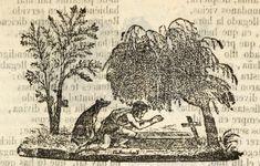 Xilografía alusiva en cabecera de un hombre arrodillado ante una tumba, junto a un perro