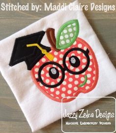 Apple wearing Graduation Cap and Eyeglasses Applique Design