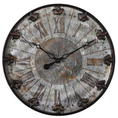 Brushed aluminum face with rust distressing and oil rubbed bronze detailing. #fridayfaves #clock #vintage