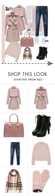 """shein 8"" by amelakafedic ❤ liked on Polyvore featuring Burberry and Mario Portolano"
